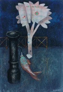 Enrico Benaglia – Il pesce assetato – pastello su carta applicata su tela cm 70×50
