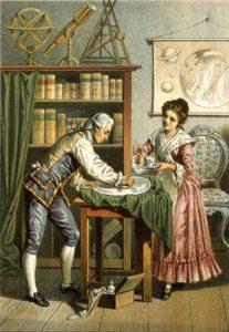 V0002731 Sir William Herschel and Caroline Herschel. Coloured lithogr