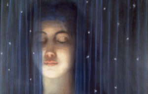 Louis-Welden-Hawkins-Woman-with-blue-curtain