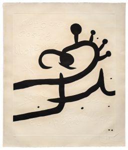 Joan Mirò, El Pi de Formentor n 1, acquatinta con altorilievo su carta a mano Guarro, 1976 bassa