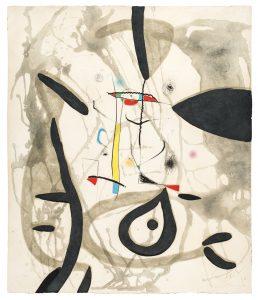 Joan Mirò, El Pi de Formentor n 4, acquaforte e acquatinta a colori su carta a mano Guarro, 1976 bassa