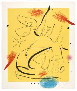 Joan Mirò, Espriu-Mirò n 9, acquaforte e acquatinta a colori con carborundum su carta a mano Guarro, 1971 bassa