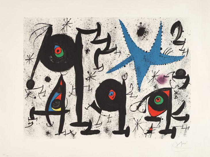 Joan Mirò, Homenatge a Joan Prats n 9, litografia a colori su carta a mano Guarro, 1971 bassa