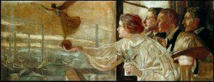 Galileo Chini_ La fabbrica, 1901_ olio su tela_ 66X172cm Wolsonina-© palazzo Ducale Fondazione per la cultura Genova