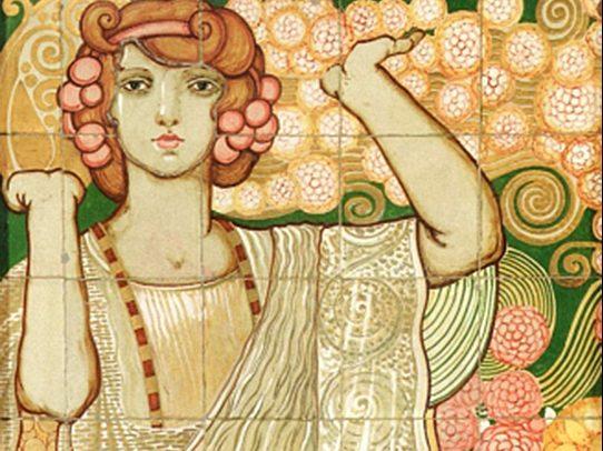 Galileo Chini_Pannello Flora_1914_Maiolica policroma_150 x 70 cm