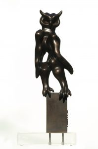 Sauro Cavallini- Gufo- 1981- Bronzo- cm 22×65