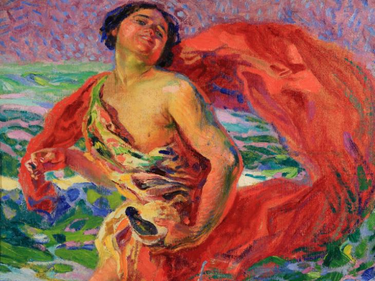 16 Nomellini – Gioia tirrena, Isadora danza sulla spiaggia di Viareggio – olio su tela riporata su tavola – cm. 49,5 x 60
