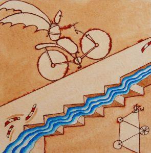Giuliano Ghelli_Salita liquida acquerello 32×24 cm 1990