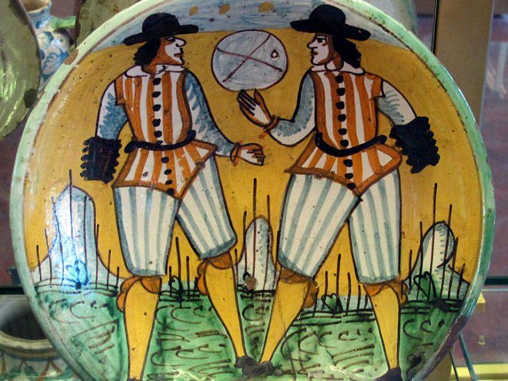 Montelupo, Piatto con giocatori di Palla col bracciale, XVII sec