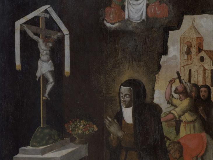 BEATA GIULIA – Tavola raffigurante La morte di beata Giulia – attr Tiberio di Billò artista senese fine Cinquecento