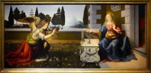 Leonardo da Vinci, Annunciazione, Gallerie degli Uffizi, Galleria delle Statue e delle Pitture, Inv. 1890 n. 1618. Su concessione del Ministero per i Beni e le attività culturali