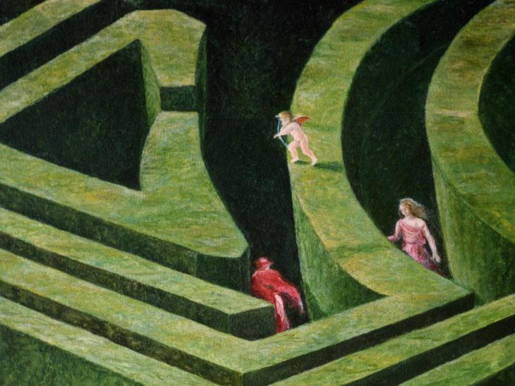 Il giardino labirinto, 1990, olio su tela, 70×60 cm
