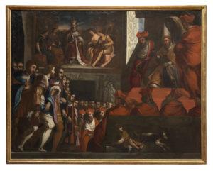 J. Ligozzi, Bonifacio VIII riceve gli ambasciatori fiorentini, quadro-bozzetto preparatorio, ante 1592