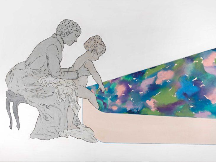Renato-Mambor,-Battesimo-nel-colore-blu,-2005,-tecnica-mista-su-tela-tamburata,-cm-120×170