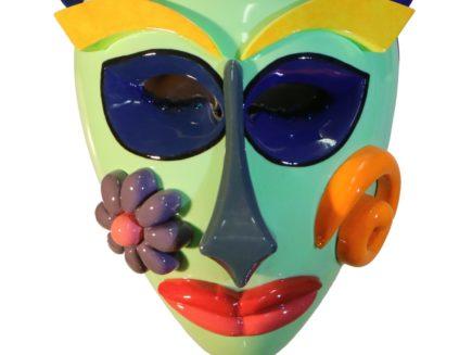 Sansavini mask 3 scultura legmo laccato cm 33 x 12