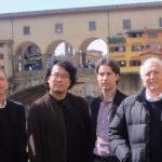 Riccardo Gelli, Bong Joon Ho, Ruggero Deodato e Cosimo Cinieri Lombroso a Ponte Vecchio di Firenze