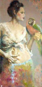g_venuti mannequine con papagallo olio su tela 50×100 2010_
